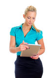 Young pretty girl with tablet computer. Stock Image