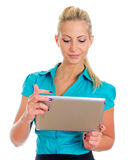 Young pretty girl with tablet computer. Stock Photos