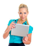 Young pretty girl with tablet computer. Royalty Free Stock Photography