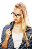 Young pretty girl teenager in glasses on white isolated blond ha Royalty Free Stock Images