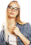Young pretty girl teenager in glasses on white isolated blond ha Stock Photo