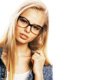 Young pretty girl teenager in glasses on white isolated blond ha Stock Images