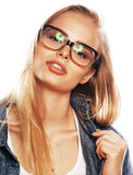Young pretty girl teenager in glasses on white isolated blond ha Royalty Free Stock Photography