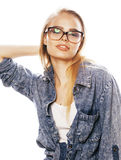 Young pretty girl teenager in glasses on white isolated blond ha Royalty Free Stock Image