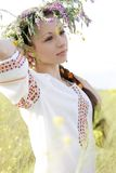 Young pretty girl in a ukrainian national costume Stock Photo