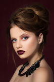 Young pretty girl with vinous lipstick Stock Photos