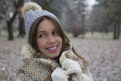 Young pretty girl walks Royalty Free Stock Photography