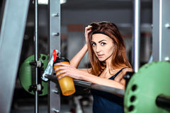 Young pretty girl work out in the gym Stock Photo