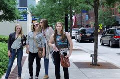 Young Pretty Girls in Downtown Chicago Stock Photo