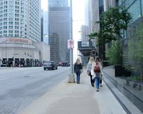Young Pretty Girls in Downtown Chicago Royalty Free Stock Images