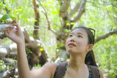 Young pretty and happy Asian Chinese woman taking a walk excursion trip on tropical mountain enjoying nature smiling cheerful in h. Oliday vacation travel Royalty Free Stock Images