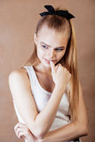 Young pretty happy smiling blonde woman close up warm colors, lifestyle people concept Stock Image