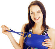 Young pretty happy smiling brunette woman in studio isolated on white background with little cute purse, lifestyle Stock Photos