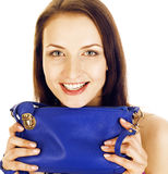 Young pretty happy smiling brunette woman in studio isolated on white background with little cute purse, lifestyle Stock Photography