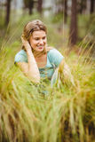 Young pretty hiker sitting in the high grass Stock Image
