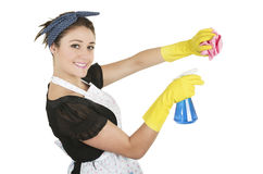 Young pretty housewife cleaning Stock Photography