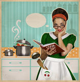 Young pretty housewife cooks in the kitchen.Retro card on old pa. Young woman cooks in the kitchen.Retro style poster on old paper for design Royalty Free Illustration