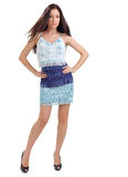 Young pretty lady in blue dress Stock Photography