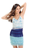 Young pretty lady in blue fringed sun-dress Royalty Free Stock Images