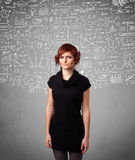 Young pretty lady with hand drawn calculations and icons Stock Photo