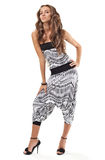 Young pretty lady in harem pants studio portrait Royalty Free Stock Images