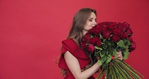 Brunette girl with long hair in red blouse turning flowers. Young pretty lady holding huge bouquet of red roses. Brunette girl with long hair in red blouse stock video footage