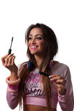 Young Pretty Latino Woman working out. With colorful clothing Royalty Free Stock Photo