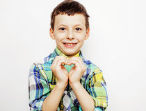 Young pretty little boy kid wondering, posing emotional face isolated on white background, gesture happy smiling close Royalty Free Stock Photography