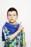 Young pretty little boy kid wondering, posing emotional face isolated on white background, gesture happy smiling close Stock Photography