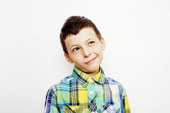 Young pretty little boy kid wondering, posing emotional face isolated on white background, gesture happy smiling close Royalty Free Stock Photos