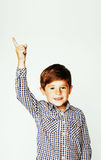Young pretty little cute boy kid wondering, posing emotional fac Stock Photography