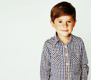 Young pretty little cute boy kid wondering, posing emotional fac Royalty Free Stock Photography