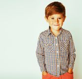 Young pretty little cute boy kid wondering, posing emotional fac. E isolated on white background, gesture happy smiling close up, lifestyle real people concept royalty free stock photos