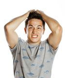 Young pretty man isolated with hands on head Royalty Free Stock Image
