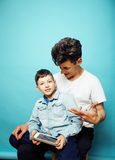 Young pretty man model with little cute son playing together, lifestyle modern people concept, family male Royalty Free Stock Image