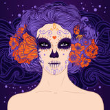 Young pretty Mexican Sugar Skull girl. With flowers in her hair and scary makeup for Day of the Dead or Halloween Stock Image