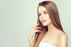 Portrait of young woman with straight, loose hairstyle on the head. Hairdressingand beauty technologies. Young pretty model is touching own well groomed stock images