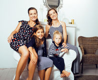 Young pretty modern family at home happy smiling, lifestyle peop Royalty Free Stock Image