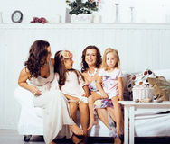 Young pretty modern family at home happy smiling, lifestyle peop Royalty Free Stock Photography