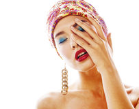 Young pretty modern girl with bright shawl on head emotional pos Royalty Free Stock Photography