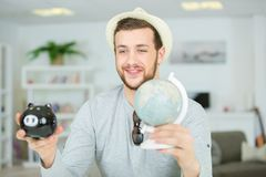 Young pretty modern hipster guy traveller concept. Man Stock Image