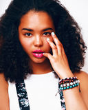 Young pretty mulatto african american teenage girl with fashion Stock Photos