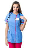 Young pretty nurse, in work clothes Royalty Free Stock Photo