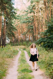 Young Pretty Plus Size Caucasian Happy Smiling Girl Woman On Road Royalty Free Stock Photos