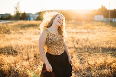 Young Pretty Plus Size Caucasian Happy Smiling Laughing Girl Wom Royalty Free Stock Image