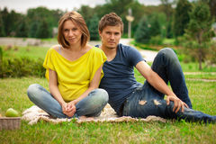 Young pretty pregnant woman with young man Stock Images