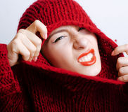 Young pretty real woman in red sweater and scarf Royalty Free Stock Photography