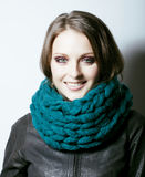 Young pretty real woman in sweater and scarf all over her face s Royalty Free Stock Photos