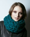 Young pretty real woman in sweater and scarf all Royalty Free Stock Photos