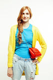 Young pretty red hair woman happy smiling isolated on white background, lifestyle people concept Stock Images